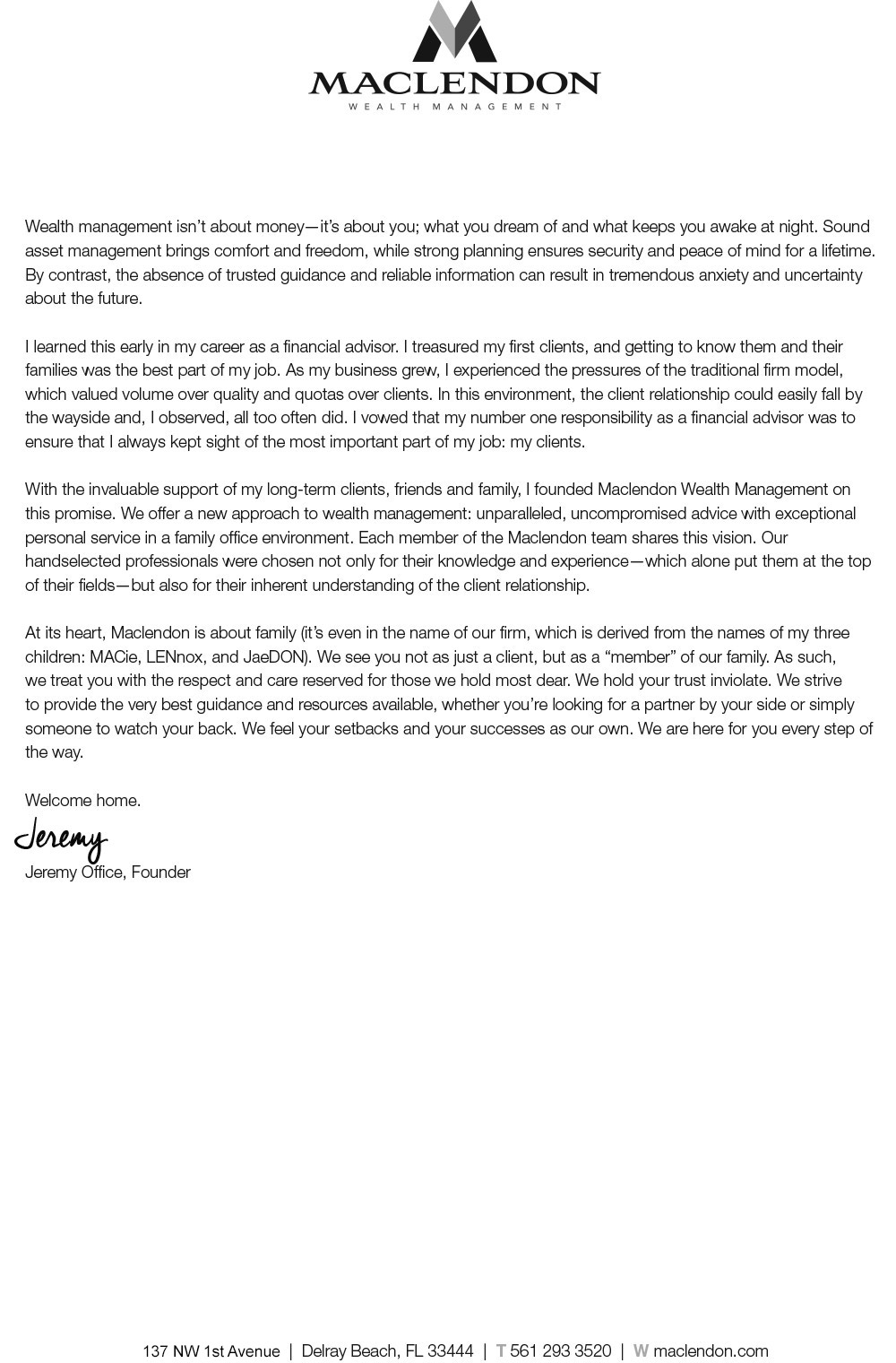 Who we are maclendon wealth management letter from founder 1betcityfo Gallery